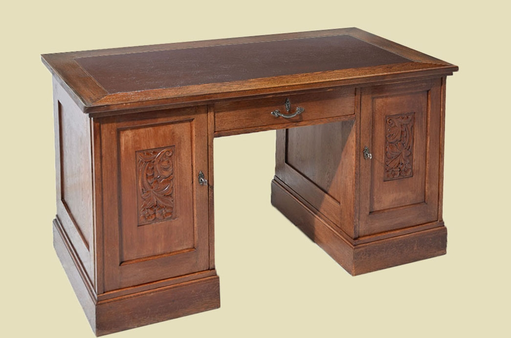 - Beautiful Antique Art Nouveau Oak Writing Desk With Leather From 1920