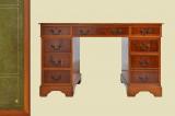 Antik English Empire Mahagoni Schreibtisch Sekretär mit Leder