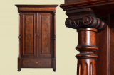 Antique Wilhelminian style walnut wardrobe with pillars from 1880