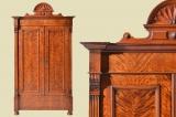 Antiker Gründerzeit Birke Kleiderschrank Muschelkrone von 1880