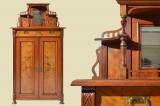 Antikes Jugendstil Nußbaum Schrank Vertiko mit Aufsatz von 1910