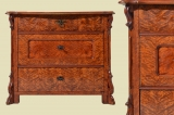 Antike Louis Philippe geflammte Birke Kommode von 1870