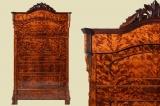 Antik Louis Philippe geflammte Birke Blender Schrank von 1870
