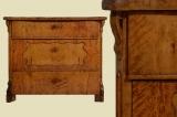 Antike Louis Philippe geflammte Birke 3-Schüber Kommode von 1870