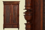 Antiker Gründerzeit Nußbaum Säulen Kleiderschrank von 1880