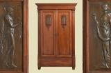 TOP Antiker Jugendstil Nußbaum Bronzerelief Kleiderschrank von 1920