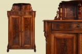 Antique Louis Philippe walnut cabinet Vertiko with essay from 1870