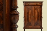 Antique early days walnut pillars cabinet Vertiko from 1880