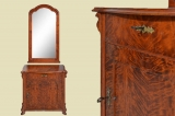 Antik Louis Philippe Birke Kommode Halbschrank mit Spiegel von 1860