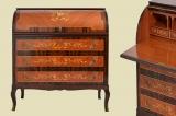Hochglanz Antik Mahagoni Intarsien Schreibtisch Zylinder Sekretär