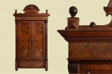 Antiker Gründerzeit Nußbaum Kleiderschrank mit Krone von 1880