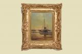 Antik Ölbild 32x38cm Boot See Maritim von Kocken