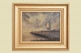 Antik Ölbild 43x37cm Boot See Maritim Windmühle Deich Hafen